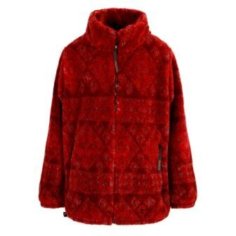Micro Velour Fleece Jacket in Kist Red