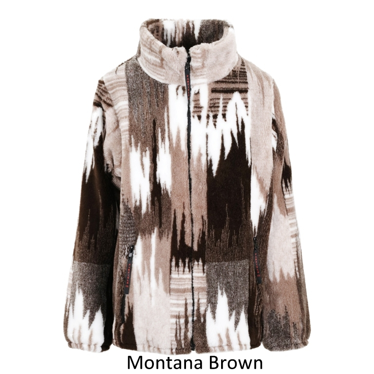 Ladies Micro Velour Fleece Jacket in Brown Montana