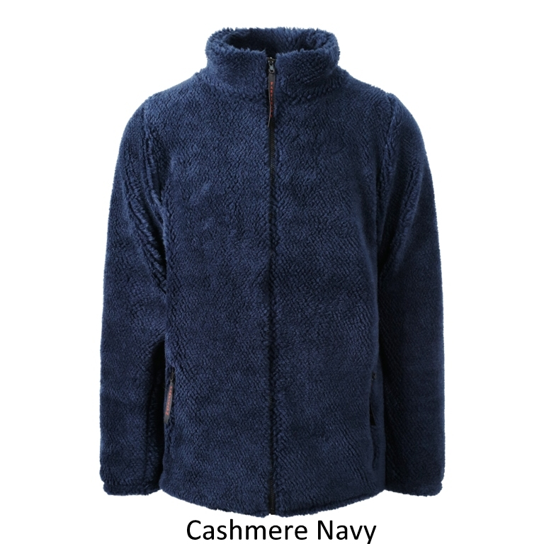 Ladies Sherpa Fleece Jacket in Navy Cashmere
