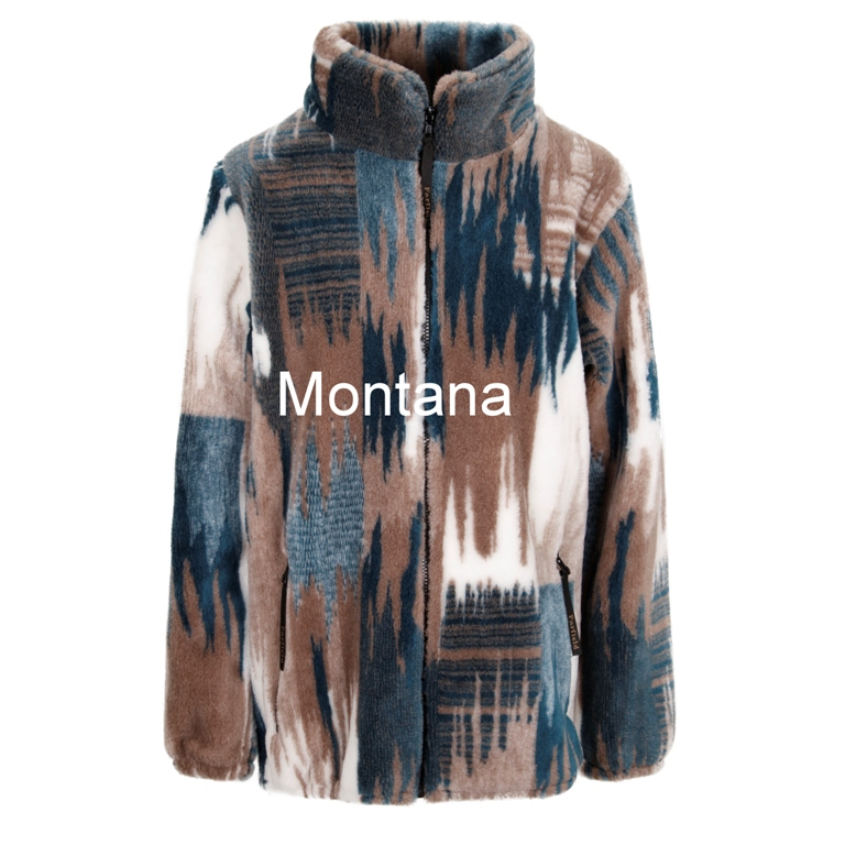 Micro Velour Fleece Jacket in Blue Montana