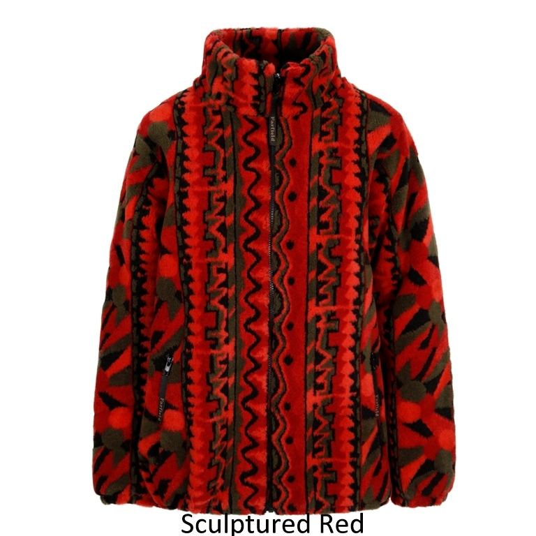 Ladies Micro Velour Fleece Jacket in Red Sculptured