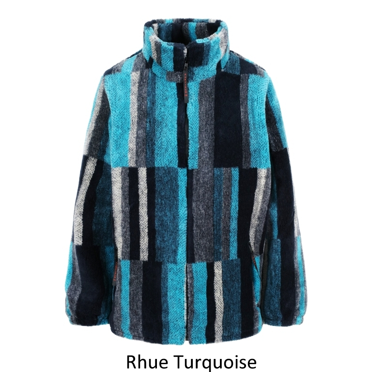 Ladies Micro Velour Flecee Jacket in Turquiose Rhue