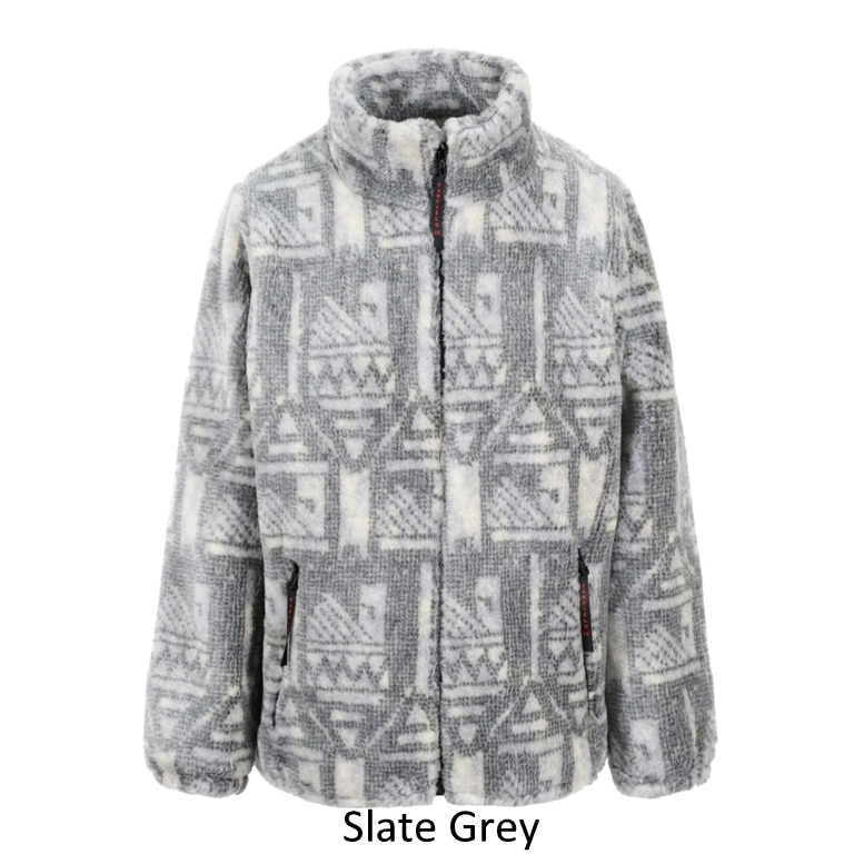 Ladies Micro Velour Fleece Jacket in grey Slate