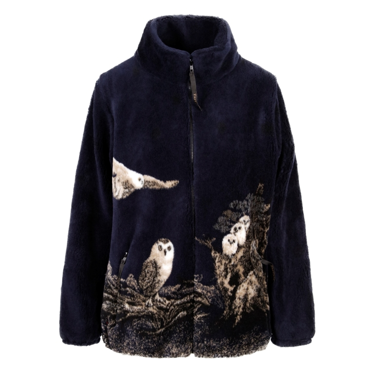 Micro Velour Fleece Jacket in Navy Owl
