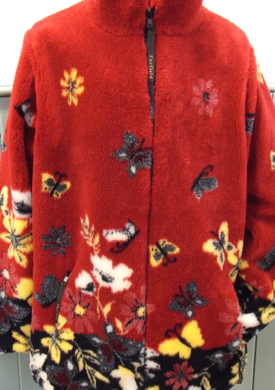 Ladies Micro Velour Fleece Jacket in Red Butterfly