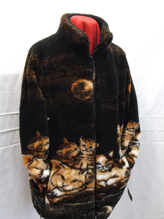 Micro Velour Fleece Jacket in Border Cats