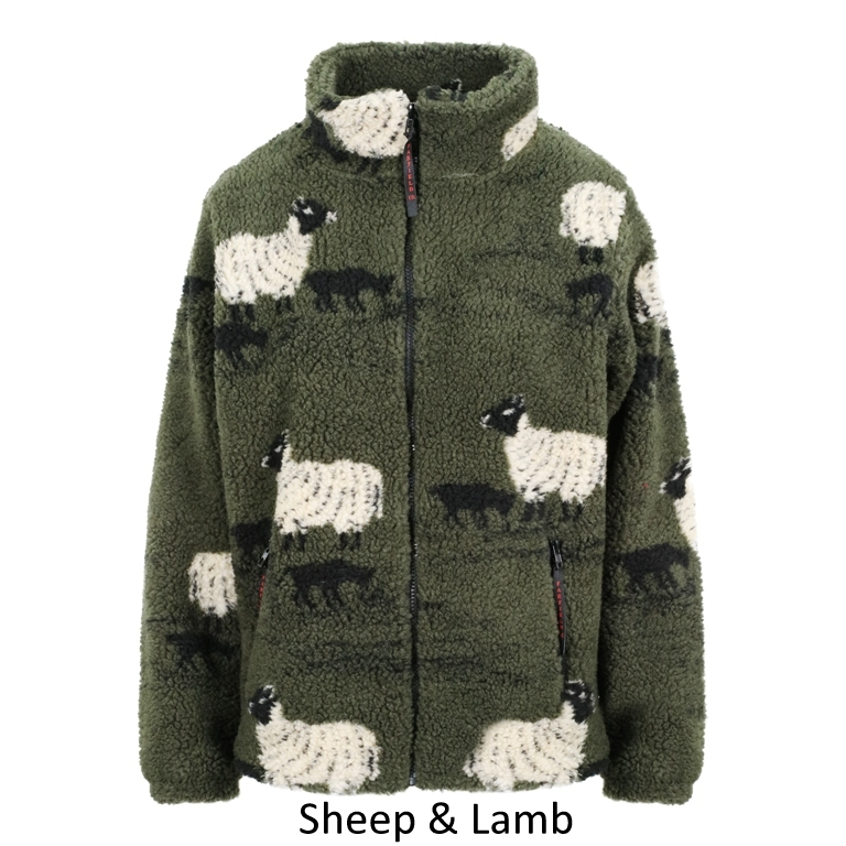 British Made Sherpa Fleece Jacket unique design Sheep & lamb