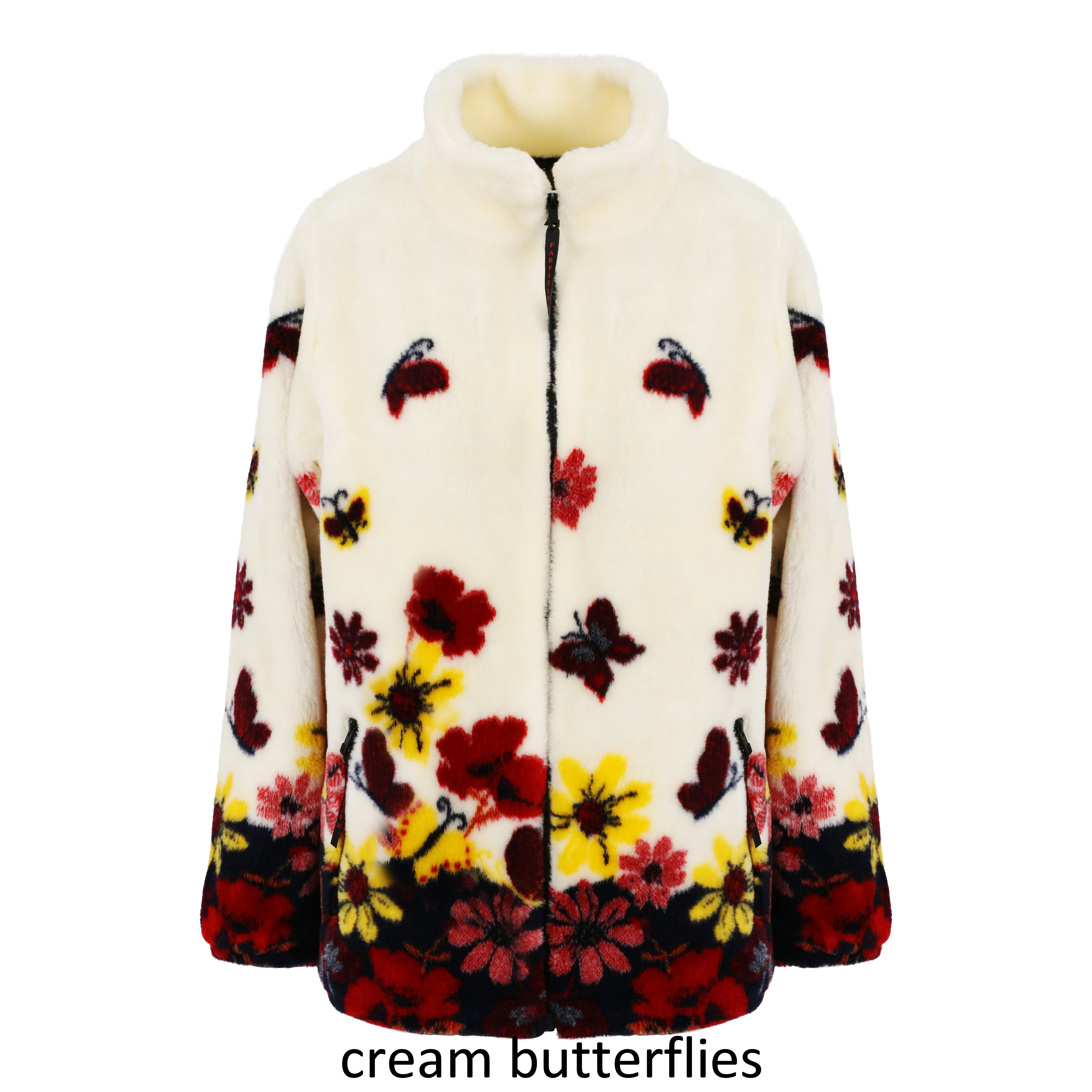 Ladies Micro Velour Fleece Jacket in Cream Butterflies