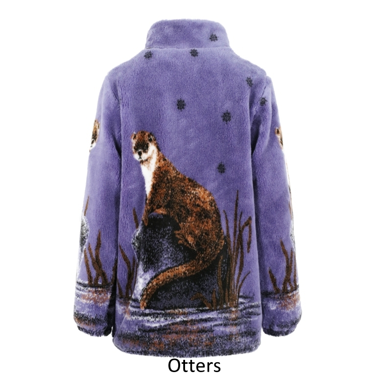 Ladies Micro Velour Fleece Jacket in Otters (reverse)