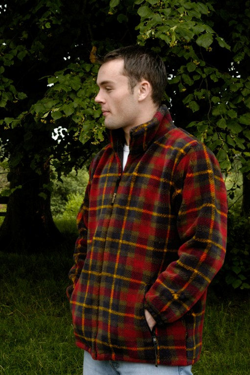 Mens Micro Velour Jacket in Red Tartan