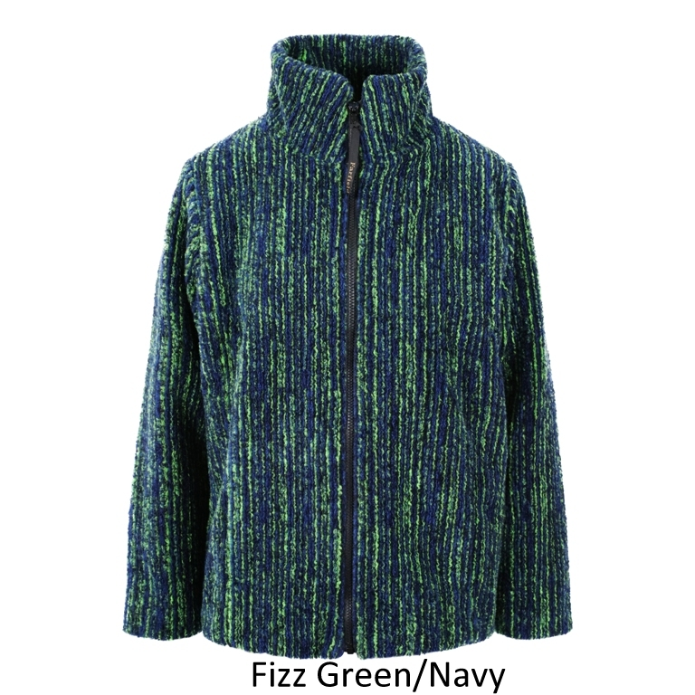 Ladies Textured Fleece Jacket in Green Fizz