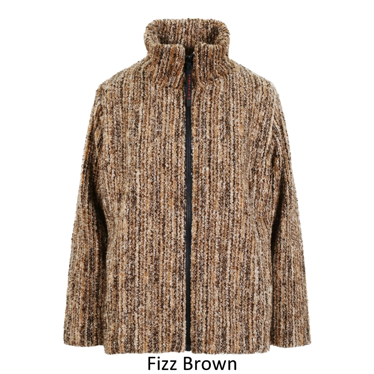 Ladies Semi Fitted Textured Fleece Jacket in Brown Fizz
