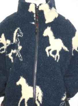 Childs Sherpa Fleece Jacket in Navy Horses