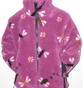 Childs Micro Velour Fleece Jacket in Raspberry Dragonfly