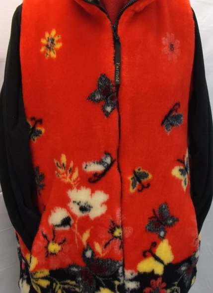 Ladies Micro Velour Vest Red Butterfly