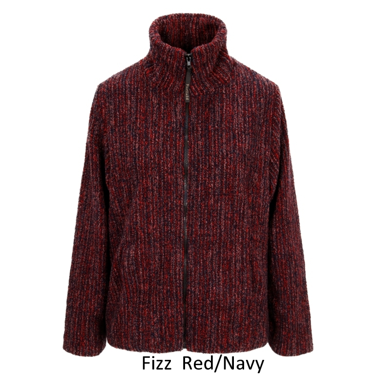 Ladies Semi Fitted Textured Fleece Jacket in Red Fizz