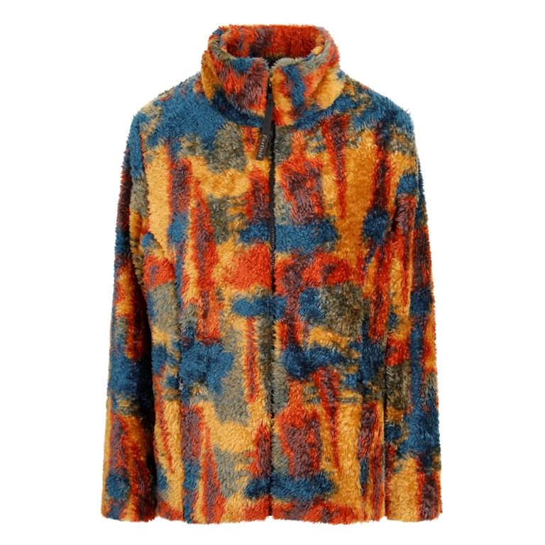 Ladies Semi Fitted Shaggypile Fleece Jacket in Orange Multi