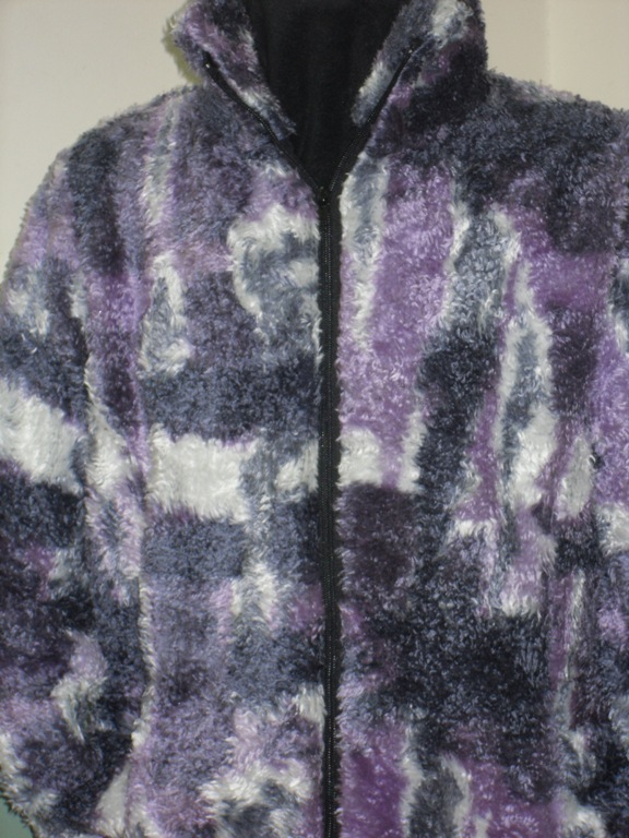 Ladies Semi Fitted Shaggypile Jacket in Lavender Multi