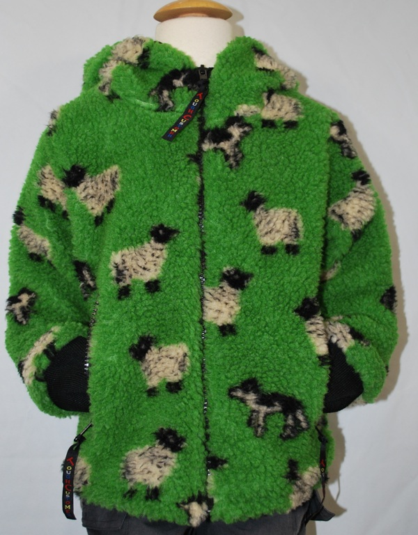 Childs Sherpa Fleece Jacket Green Sheep & Dog